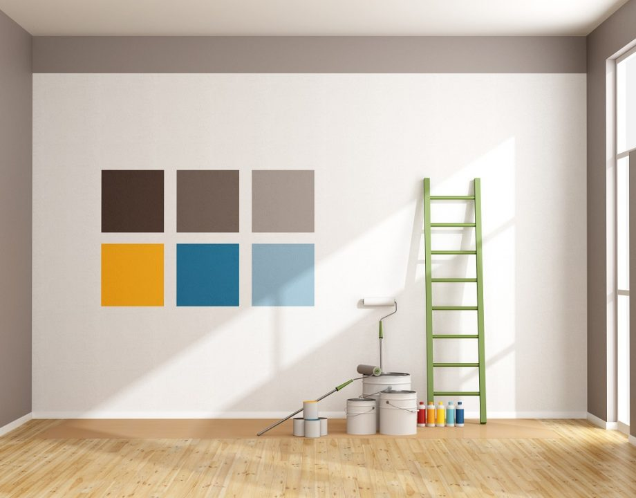 Select color swatch to paint wall in a minimalist room – rendering